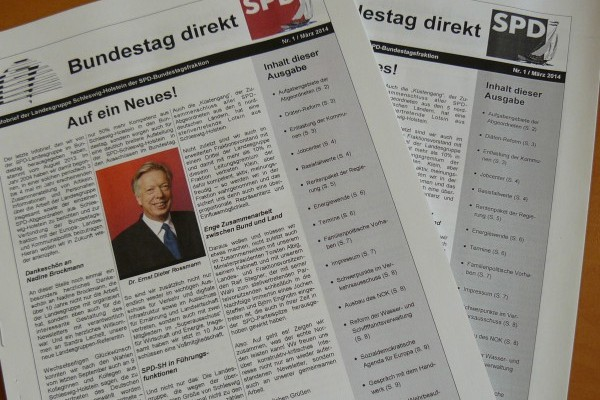 """Der neue Infobrief """"Bundestag direkt"""" der Landesgruppe Schleswig-Holstein der SPD-Bundestagsfraktion, Nr. 1, 2014"""